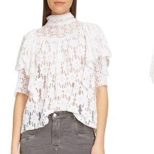 Isabel Marant Etoile Vetea Floral Lace Ruffle Top